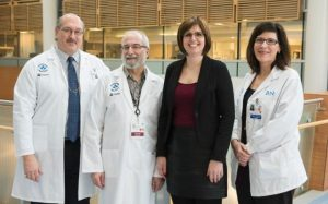 Dr. Mark Freedman, Dr. Harold Atkins, Jennifer Molson and trial coordinator Marjorie Bowman. (Picture: Ottawa Hospital)