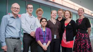 The trial team at Wellington Hospital. L-R: Dr David Abernethy (lead clinical investigator and co-principal investigator), Dr David Bourke, Liz Goode, Dr Eloise Watson, Jonathan Barrett, Imogen Milner and Professor Anne La Flamme. Standing in front, Dr Purwa Joshi.
