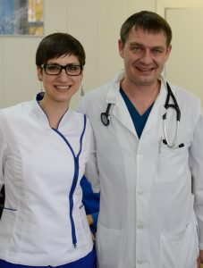 Dr Denis Fedorenko with his assistant Anastasia Panachenko. Anastasia is also a former patient because of MS.