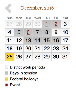 Senate December 2016 work schedule