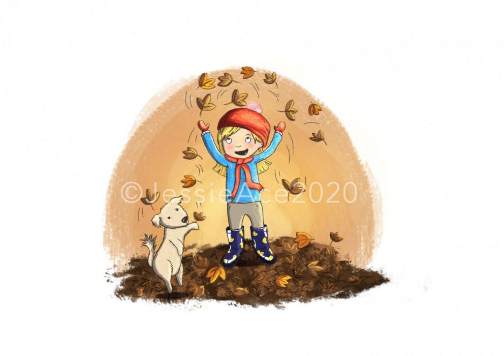 Image of a little girl with blond hair in a ponytail under a red hat wearing a blue jumper, stone colored pants and blue wellington boots with little ducks on throwing leaves in the air next to her dog