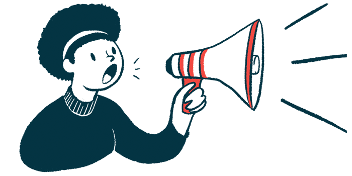 MS Ponvory | Multiple Sclerosis News Today | NICE decision for NHS | woman with megaphone announcement illustration