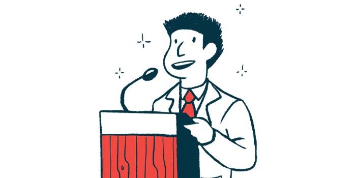 progressive MS conference   Multiple Sclerosis News Today   Illustration of speaker at podium