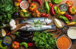 diet and fatigue | Multiple Sclerosis News Today | Research | Overhead shot of colorful fruits, vegetables, herbs, spices, grains, fish