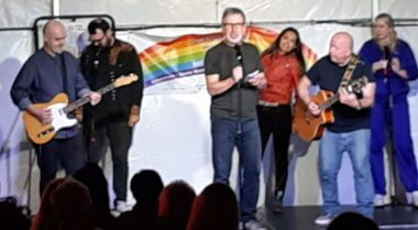 """British comedy   Multiple Sclerosis News Today   Six members of """"The Edge"""" comedy troupe perform at a festival held in a marquee in the countryside outside London."""