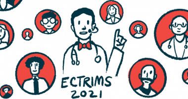 early use of Ocrevus significantly delays disability progression/Multiple Sclerosis News Today/ECTRIMS speaker illustration